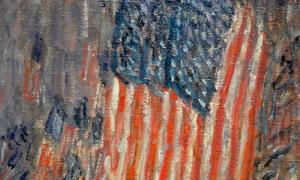 Hassam's Flags on the Waldorf, a painting which hangs in the Amon Carter Museum
