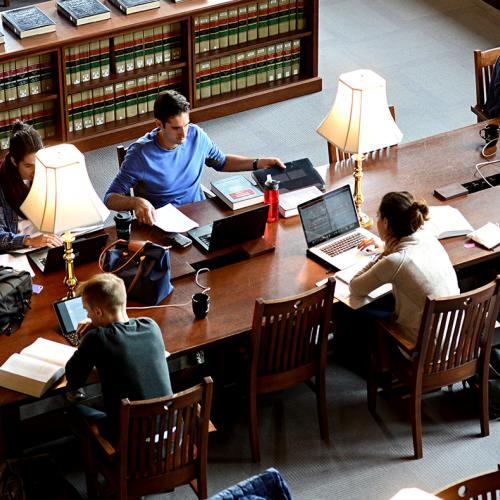 group of students studying in a library at Washington University