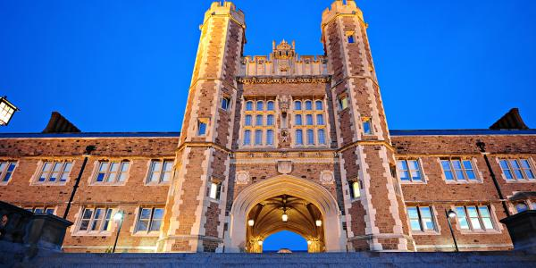 Washington University's Brookings Hall in the evening.