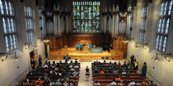 Students at recognition ceremony in Graham Chapel