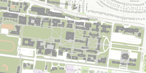 map illustration of the Danforth campus