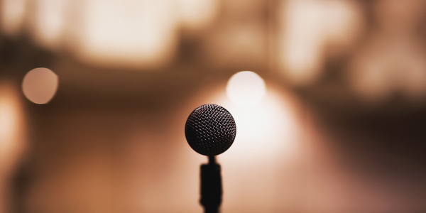 microphone at a lecture series