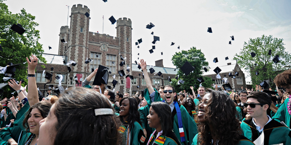 WashU students celebrating at commencement