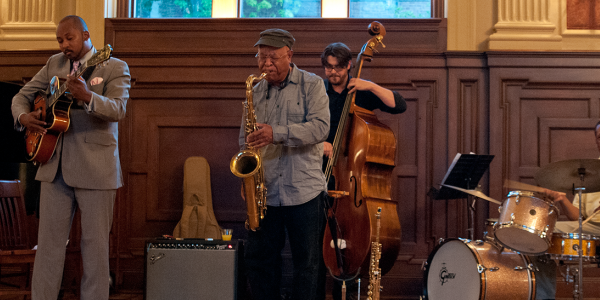jazz musicians performing at WashU's free concert series, Jazz at Holmes.