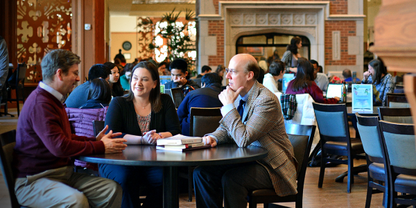 adult students talking in the Danforth University Center